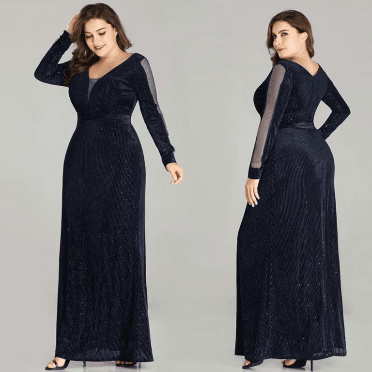 Secret Wish Boutique Sukienka Długa Czarna Plus Size dla Puszystych Maxi z Długim Rękawem_02