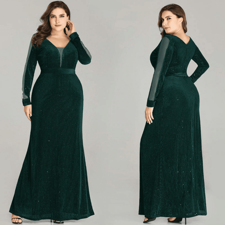 Secret Wish Boutique Sukienka Długa Czarna Plus Size dla Puszystych Maxi z Długim Rękawem_03