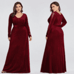 Sukienka Długa Czarna Plus Size dla Puszystych Maxi z Długim Rękawem