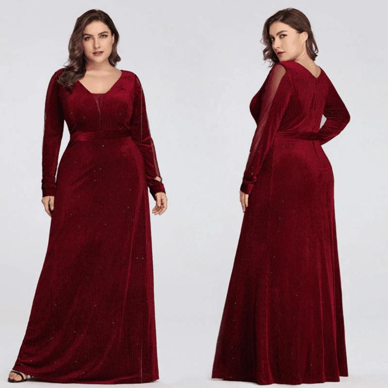 Secret Wish Boutique Sukienka Długa Czarna Plus Size dla Puszystych Maxi z Długim Rękawem_05