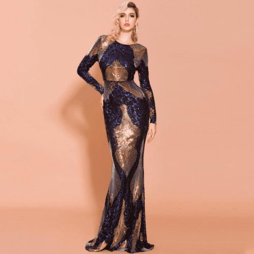 Sukienka Granatowa w Kolorowe Wzory w Cekiny Długa Maxi