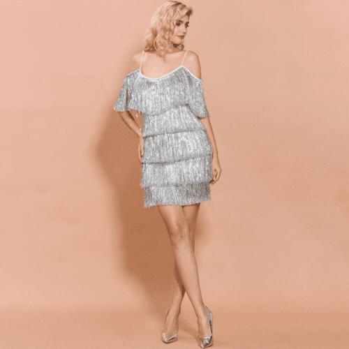 Sukienka Stalowa Szara na Ramiączkach z Frędzelkami Mini