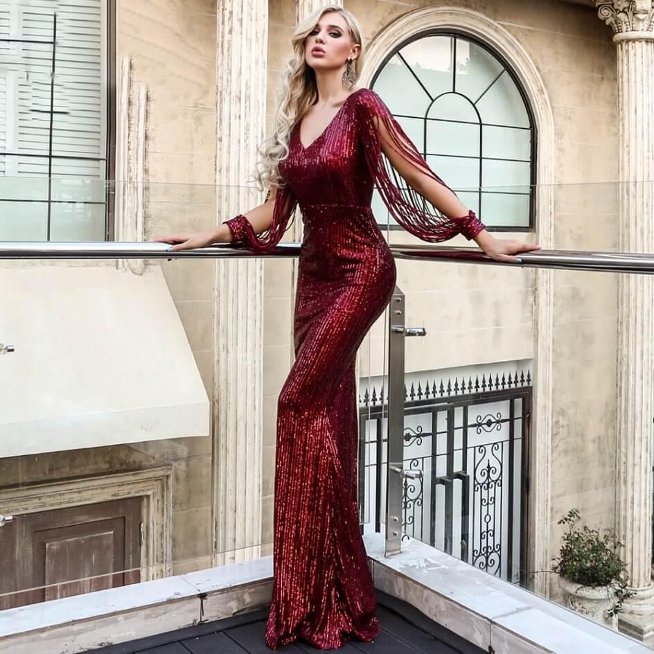 Polish Fashion Shops Sukienka Bordowa w Kolorze Wina z Długim Rękawem Maxi_05