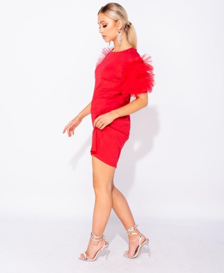 Secret Wish Boutique Fenilla Sukienka Czerwona z Tiulowymi Rękawami Mini_01