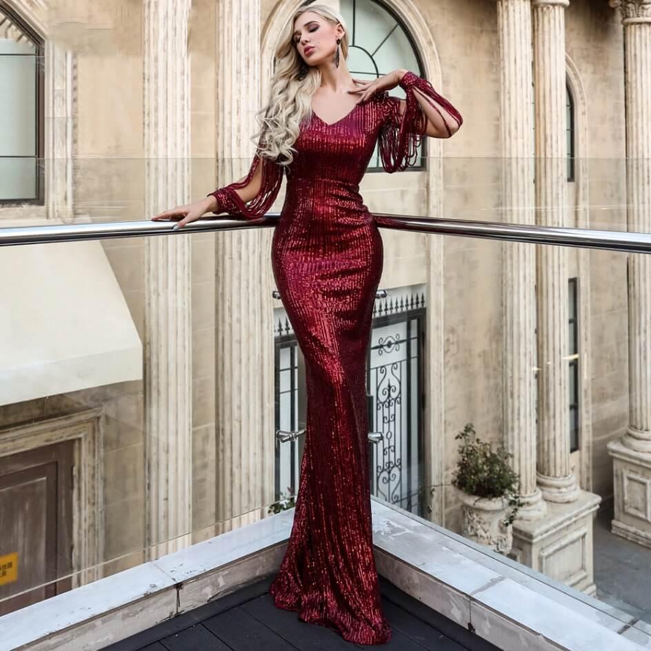 Secret Wish Boutique Sukienka Bordowa w Kolorze Wina z Długim Rękawem Maxi_02