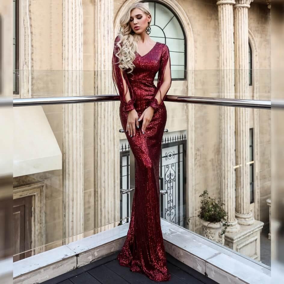 Secret Wish Boutique Sukienka Bordowa w Kolorze Wina z Długim Rękawem Maxi_03
