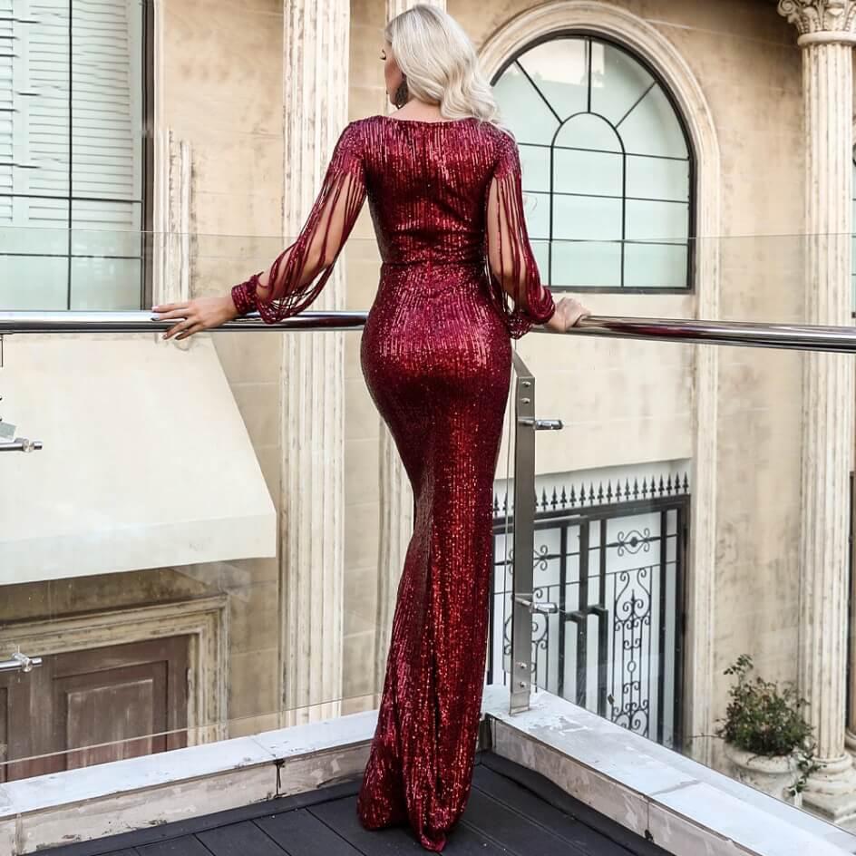Secret Wish Boutique Sukienka Bordowa w Kolorze Wina z Długim Rękawem Maxi_6