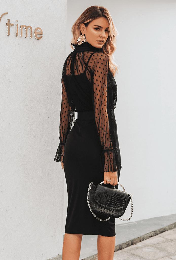 Sukienka Czarna Koktajlowa z Długim Rękawem Midi