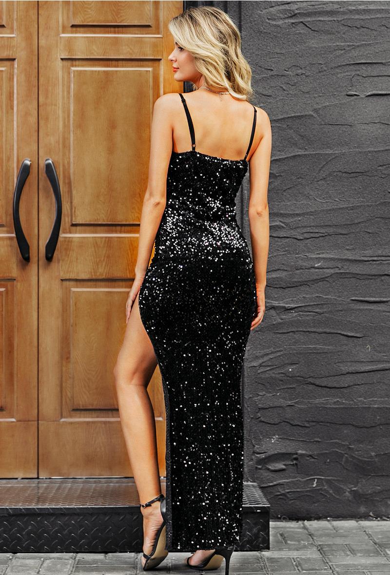 Sukienka Czarna w Cekiny na Ramiączkach Maxi