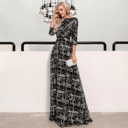 Sukienka Czarna w Srebrne Cekiny Długa Maxi