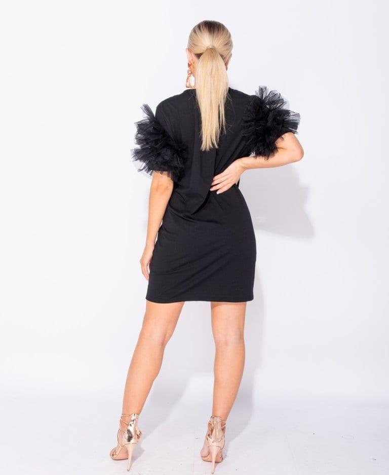 Secret Wish Boutique Sukienka Czarna z Tiulowymi Rękawami Mini