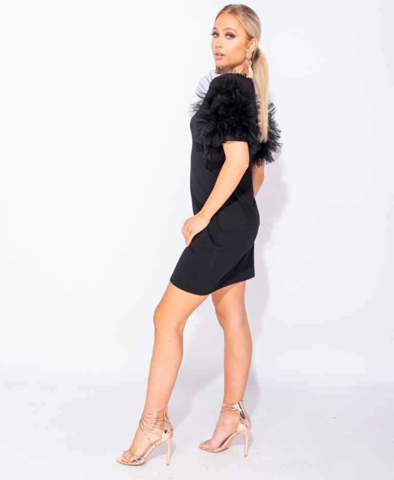 Secret Wish Boutique Sukienka Czarna z Tiulowymi Rękawami Mini_02