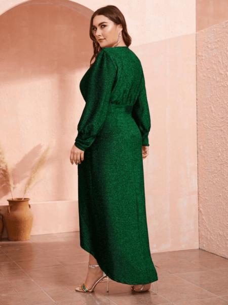 Sukienka Szmaragdowa Zieleń z Długim Rękawem Maxi Plus Size