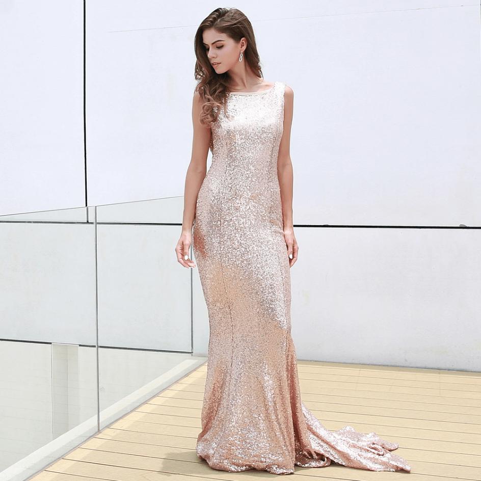 Sukienka Złota w Cekiny Bez Rękawów Długa Max