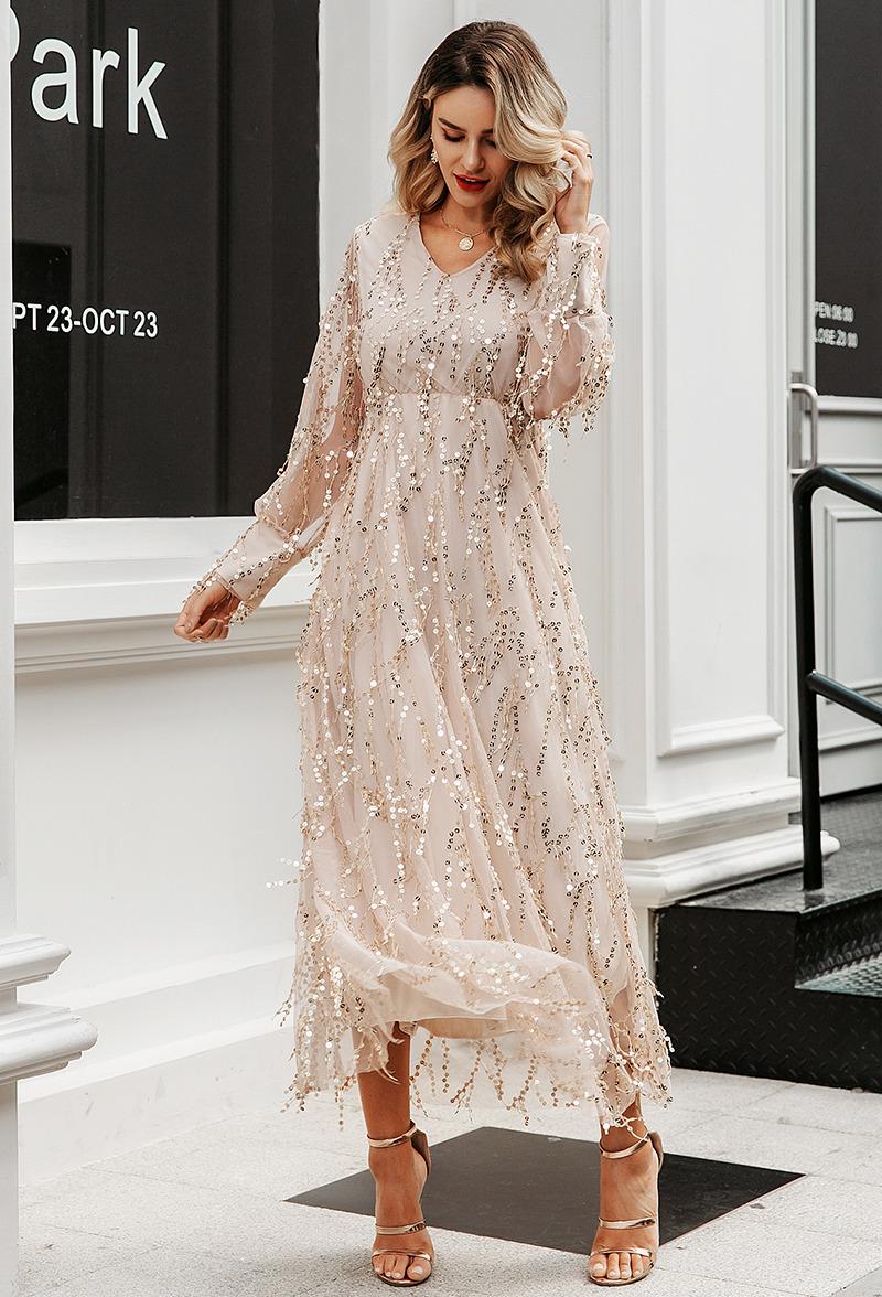 Sukienka Złota w Cekiny z Długim Rękawem Midi