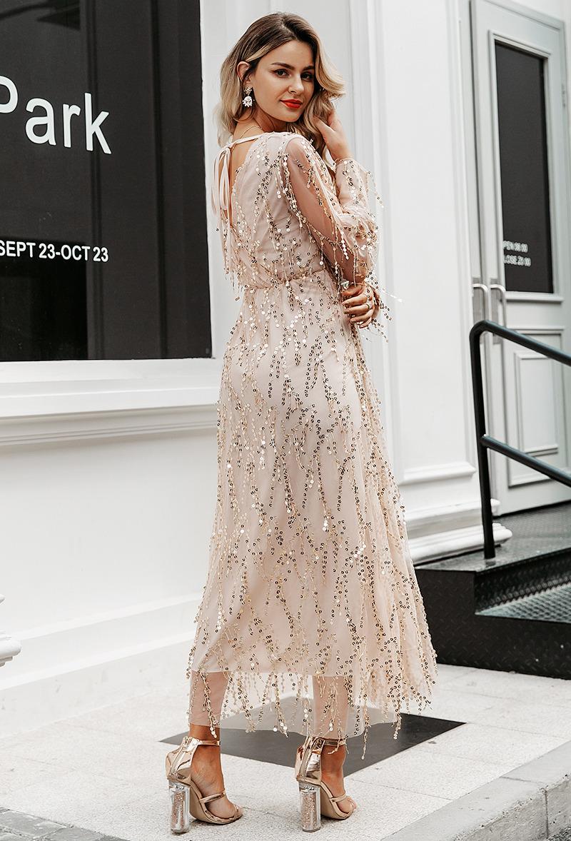 Secret Wish Boutique Sukienka Złota w Cekiny z Długim Rękawem Midi_03