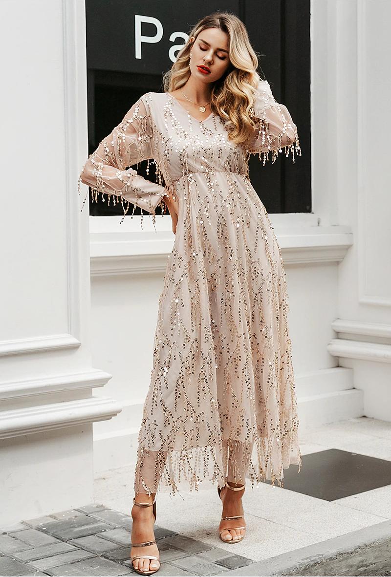 Secret Wish Boutique Sukienka Złota w Cekiny z Długim Rękawem Midi_05