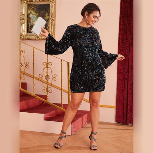 Sukienka Czarna w Cekiny z Długim Rękawem Mini