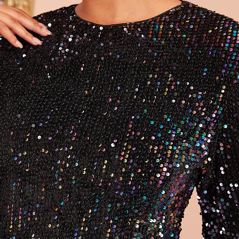 Secret Wish Boutique Sukienka Czarna w Cekiny z Długim Rękawem Mini_01