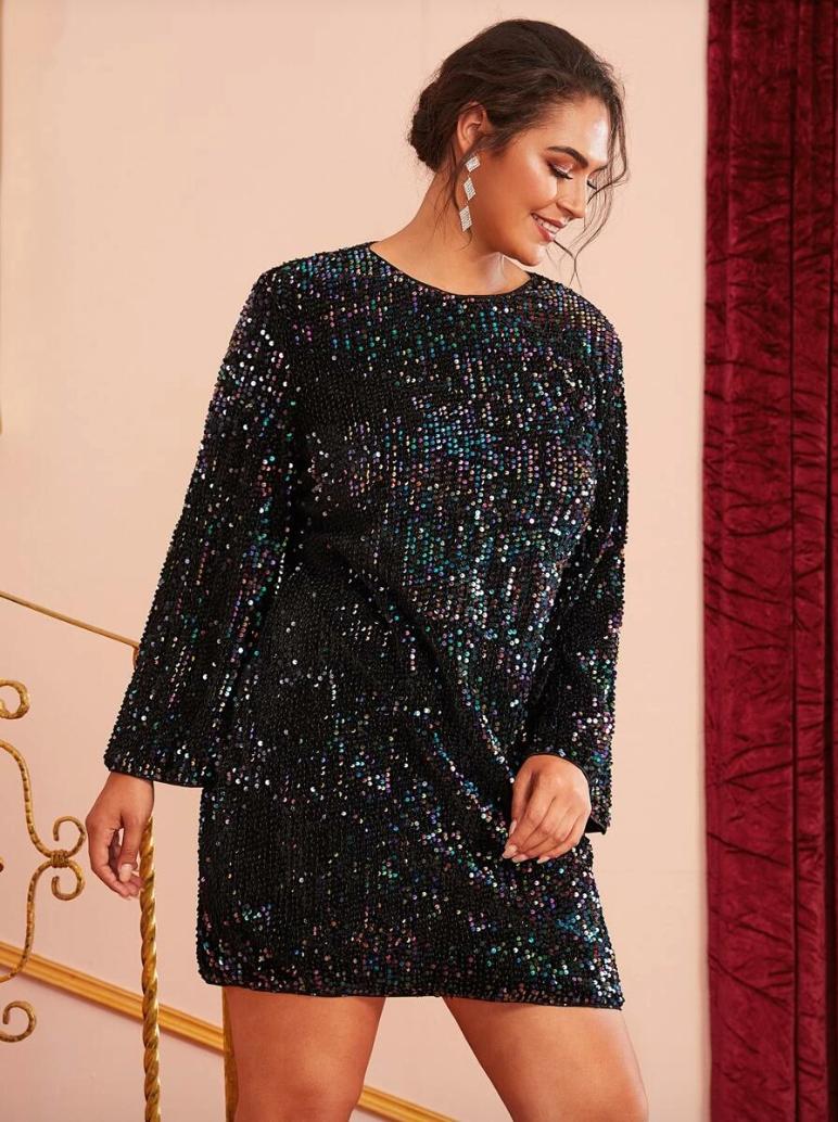 Secret Wish Boutique Sukienka Czarna w Cekiny z Długim Rękawem Mini_05
