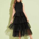 Secret Wish Boutique Sukienka Czarna Tiulowa Dla Dziewczynki Maxi