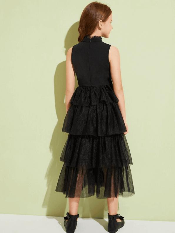 Secret Wish Boutique Sukienka Czarna Tiulowa Dla Dziewczynki Maxi_01