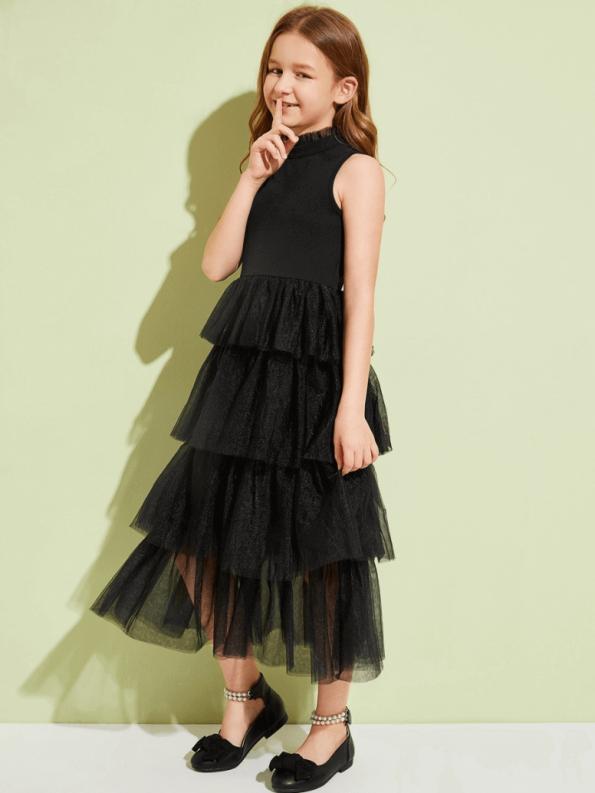 Secret Wish Boutique Sukienka Czarna Tiulowa Dla Dziewczynki Maxi_02