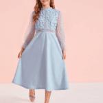 Secret Wish Boutique Sukienka Koronkowa Niebieska dla Dziewczynki Midi