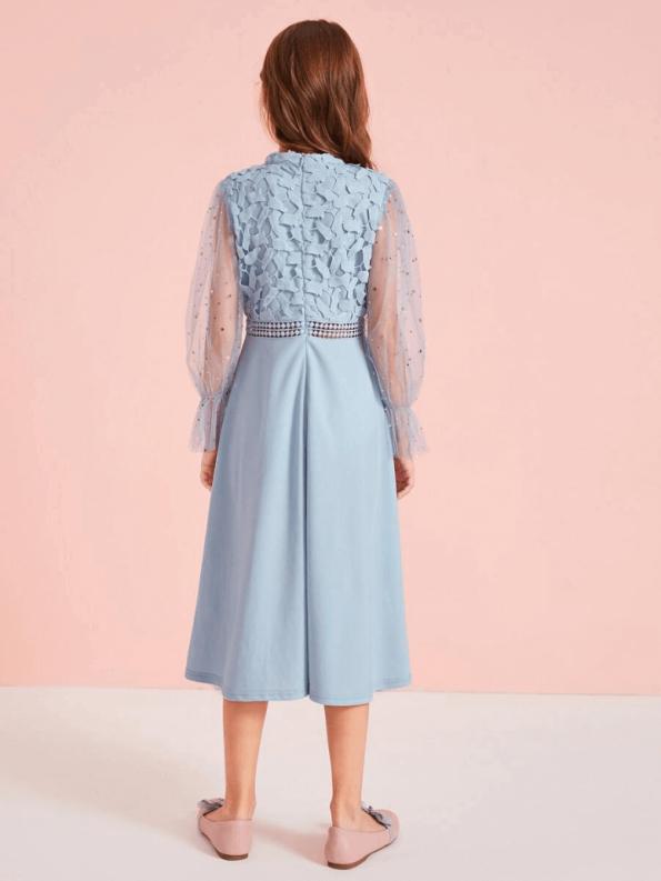 Secret Wish Boutique Sukienka Koronkowa Niebieska dla Dziewczynki Midi_01