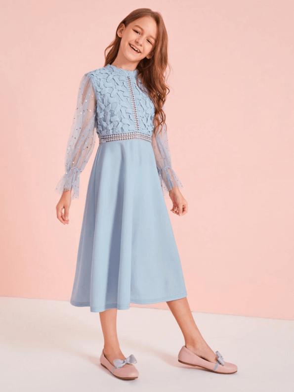 Secret Wish Boutique Sukienka Koronkowa Niebieska dla Dziewczynki Midi_02
