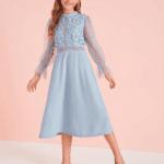Sukienka Koronkowa Niebieska dla Dziewczynki Midi