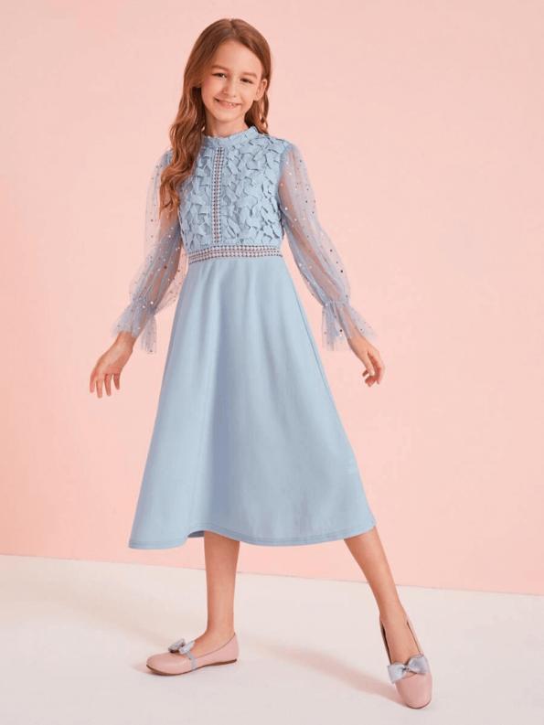 Secret Wish Boutique Sukienka Koronkowa Niebieska dla Dziewczynki Midi_03
