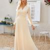 Sukienka Kremowa Beżowa Długa z Długim Rękawem Maxi