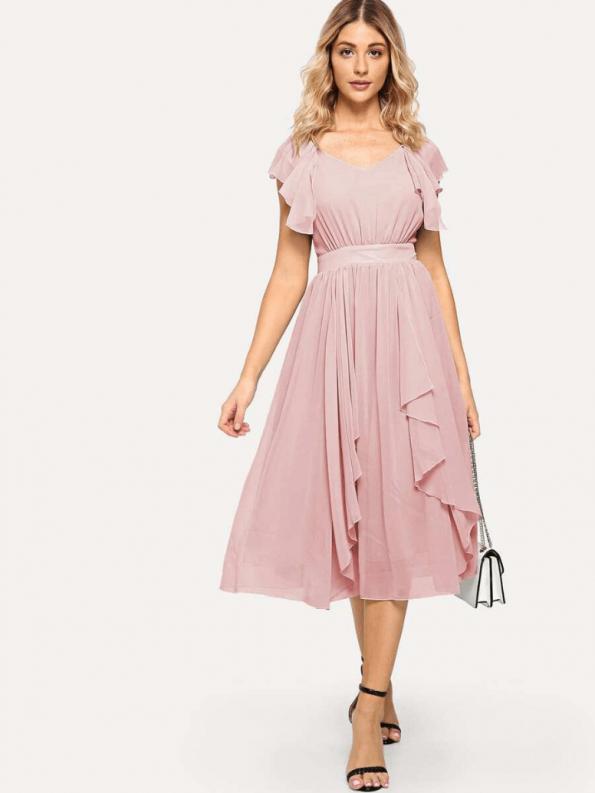 Secret Wish Boutique Sukienka Rozkloszowana Pudrowy Róż Falbany z Krótkim Rękawem Midi za Kolano_02