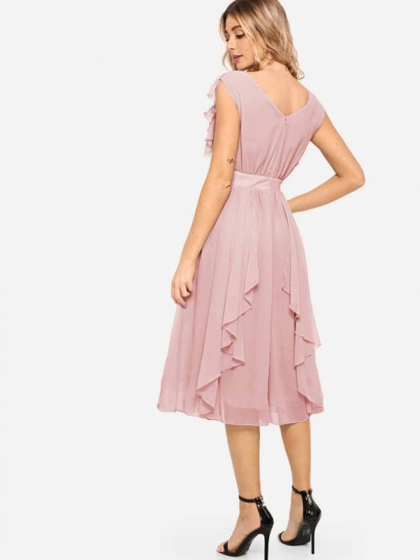Secret Wish Boutique Sukienka Rozkloszowana Pudrowy Róż Falbany z Krótkim Rękawem Midi za Kolano_03