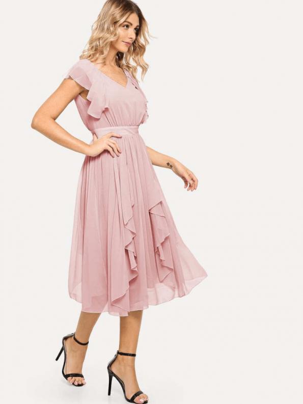Secret Wish Boutique Sukienka Rozkloszowana Pudrowy Róż Falbany z Krótkim Rękawem Midi za Kolano_04
