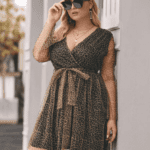 Sukienka w Panterkę Plus Size z Długim Rękawem Mini