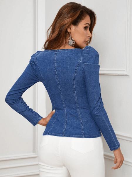 Bluzeczka Jeansowa z Bufkami z Długim Rękawem
