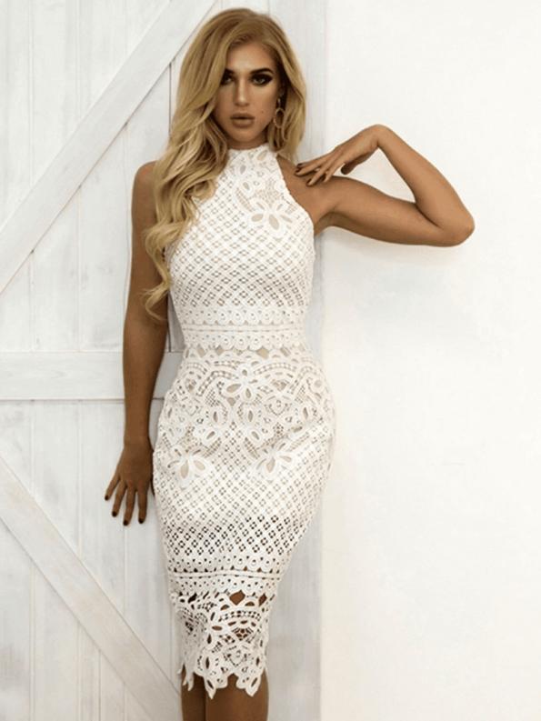 Secret Wish Boutique Sukienka Biała Koronkowa Bez Rękawów Midi_02