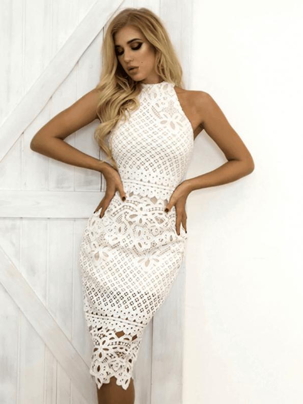 Secret Wish Boutique Sukienka Biała Koronkowa Bez Rękawów Midi_03