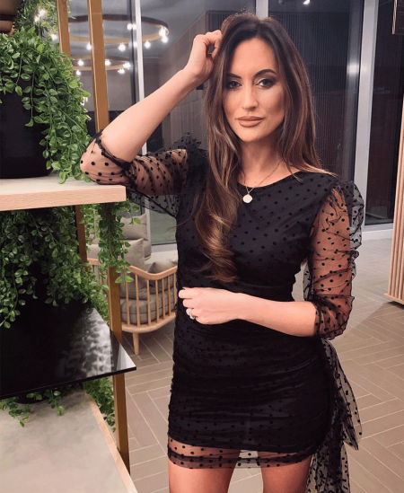 Sukienka Czarna Tiulowa w Kropki z Trenem Mini