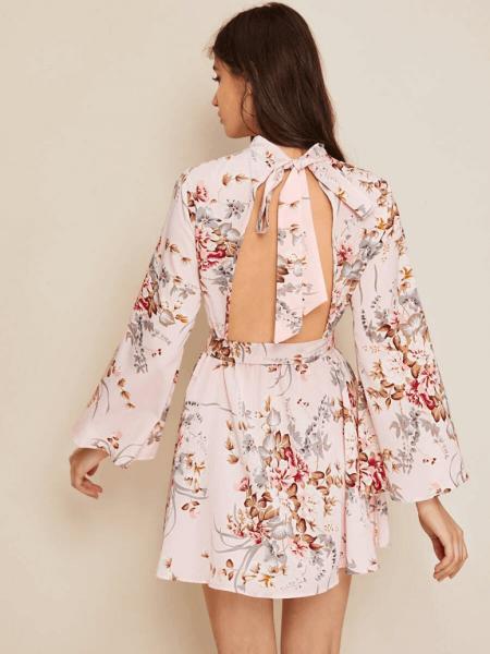 Sukienka Ecru w Kwiaty z Odsłoniętymi Plecami Mini