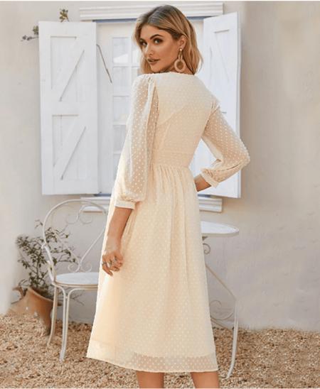 Sukienka Kremowa Beżowa Długa z Długim Rękawem Midi