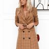 Sukienka/Marynarka Beżowa w Kratkę Mini