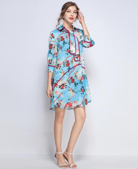 Sukienka Błękitna w Kwiaty z Rękawem 3_4 Mini
