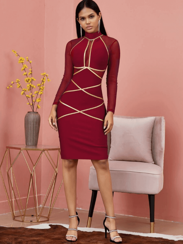 Sukienka Bandażowa Bordowa Koktajlowa z Długim Rękawem Mini