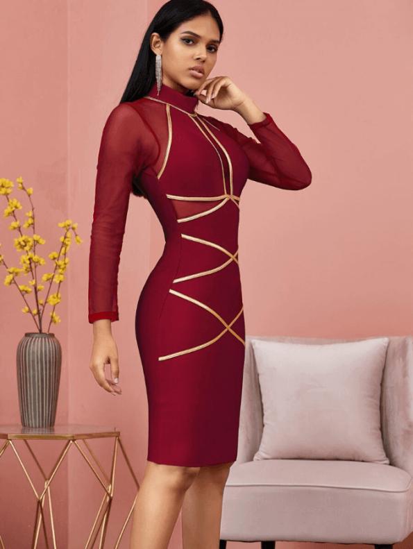 Secret Wish Boutique Sukienka Bandażowa Bordowa Koktajlowa z Długim Rekawem Mini_02