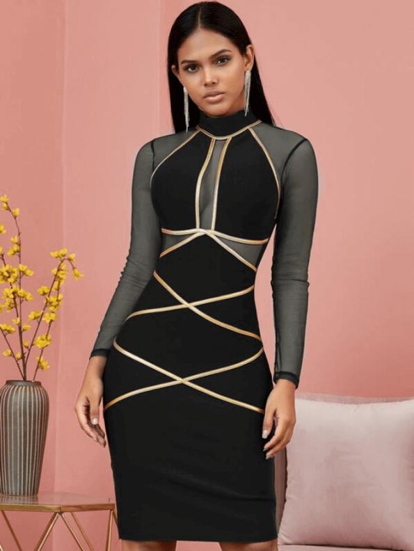 Secret Wish Boutique Sukienka Bandażowa Czarna Koktajlowa z Długim Rękawem Mini_01
