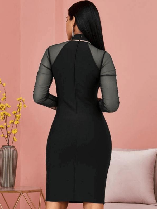 Secret Wish Boutique Sukienka Bandażowa Czarna Koktajlowa z Długim Rekawem Mini_02
