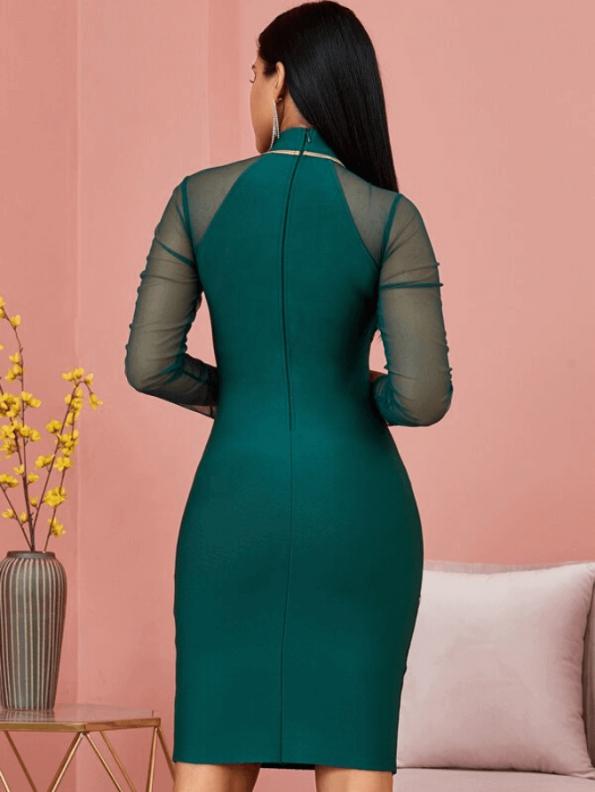 Secret Wish Boutique Sukienka Bandażowa Zielona Koktajlowa z Długim Rękawem Mini_01